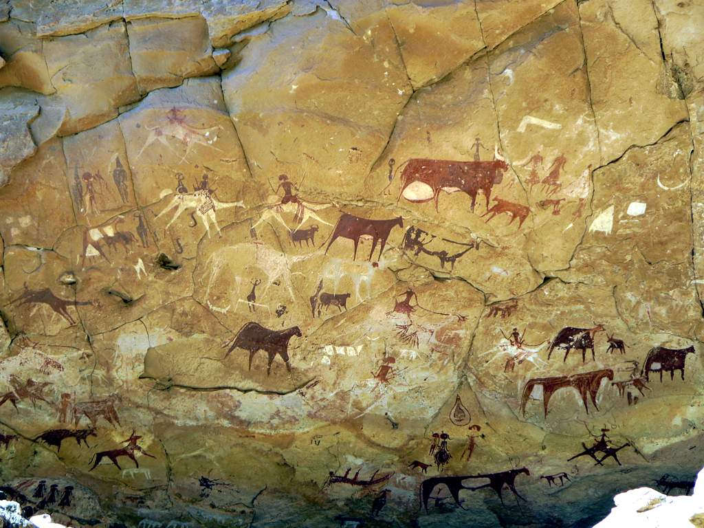 Being a good blogger means being a professional storyteller. Fortunately, humans have told stories throughout history, as shown by this image of prehistoric cave art featuring simplistic human and bovine forms.
