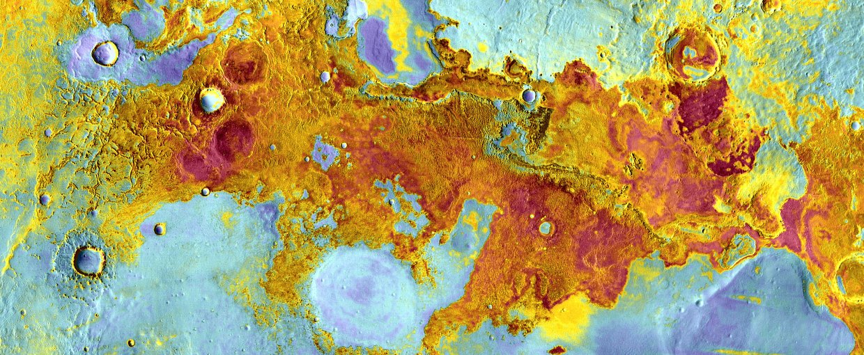Art and science don't have to be mutually exclusive, as shown by this beautiful image of the surface of Mars showing its mineral composition through vivid colors.