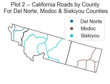 Map showing the roads layer clipped to the three counties and colored according to which county the road is in.