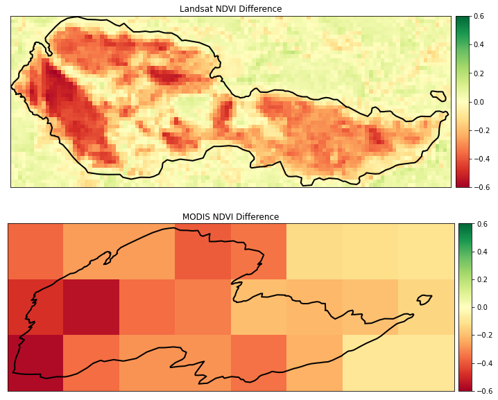 Landsat and MODIS NDVI Normalized Difference from before and after the Cold Springs fire.