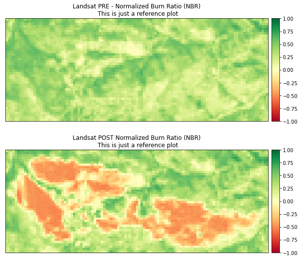 NBR images calculated from Landsat for pre- and post-Cold Springs fire.
