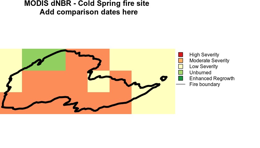dnbr plotted using MODIS data for the Cold Springs fire.