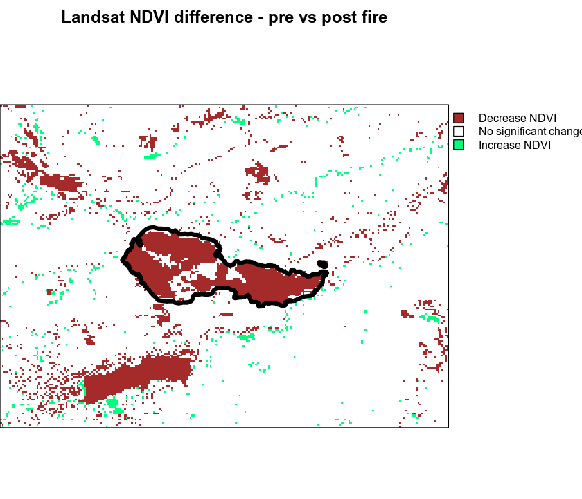 Difference in NDVI pre vs post Cold Springs fire.