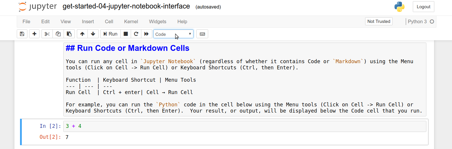 You can check the cell type of any cell in Jupyter Notebook using the Toolbar. The default cell type is Code.