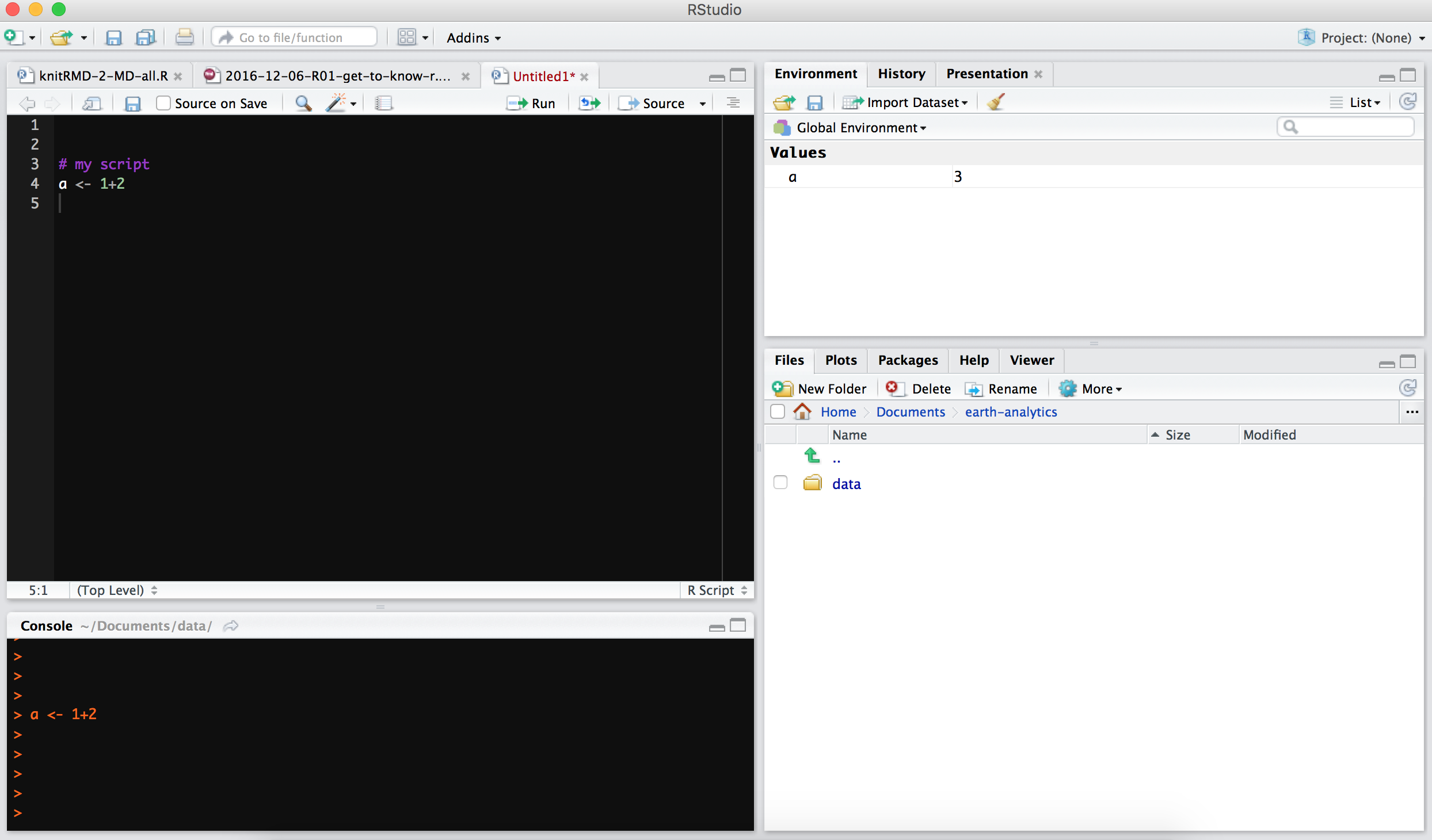 rstudio interface