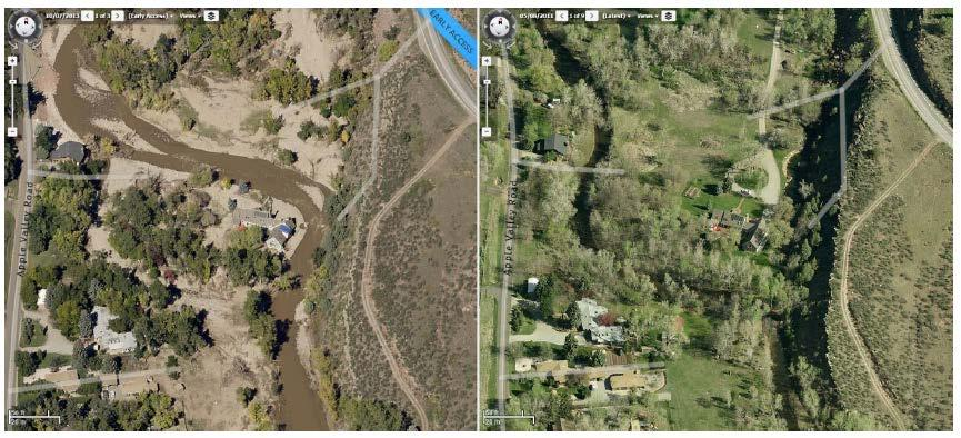 North St Vrain before and after 2013 flood.