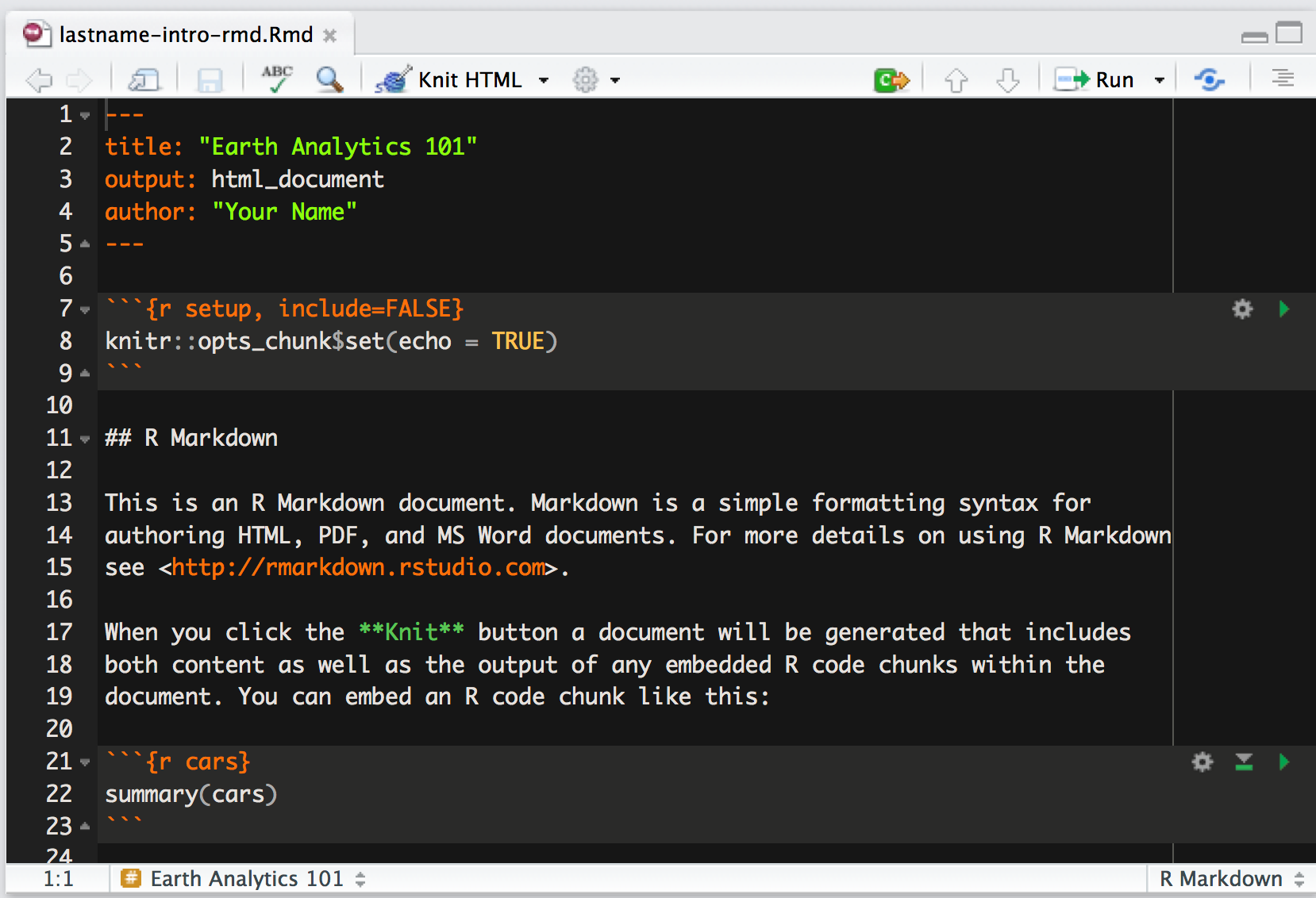 create new rmd document