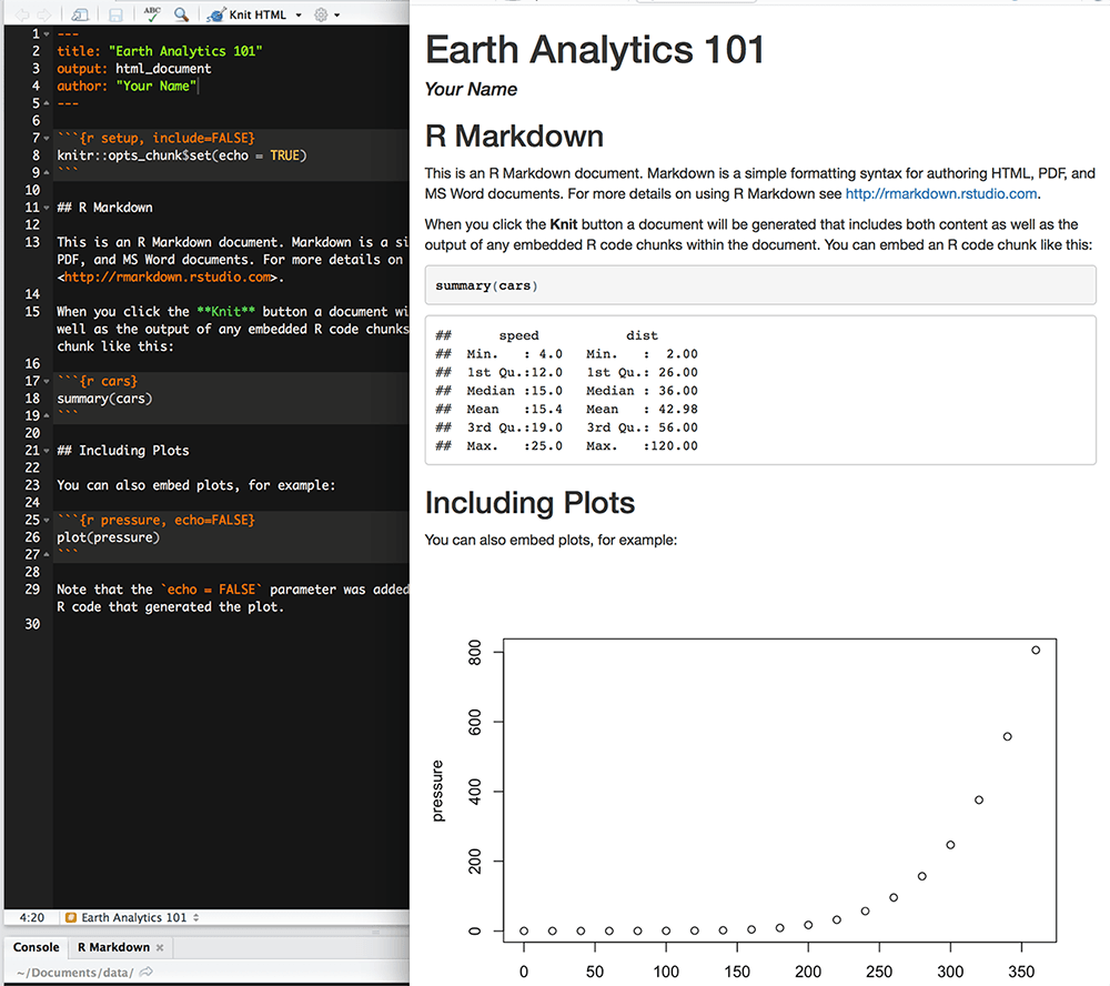 Convert R Markdown to PDF or HTML | Earth Data Science