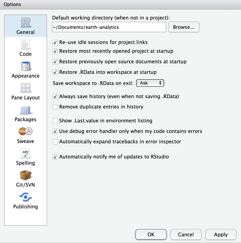setup working directory in rstudio