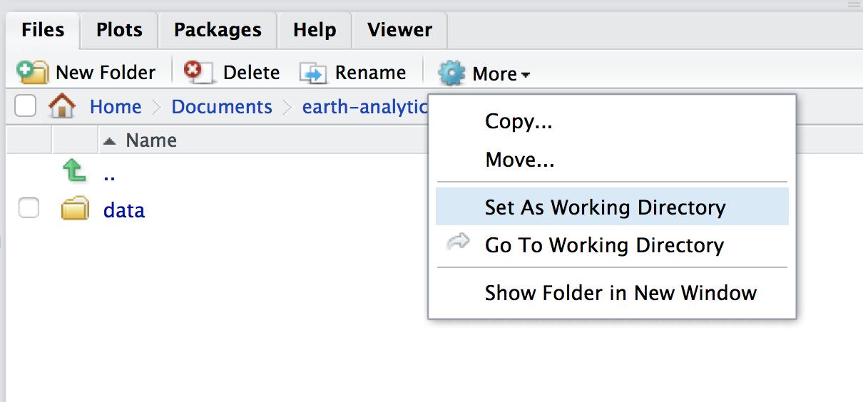 rstudio working directory set