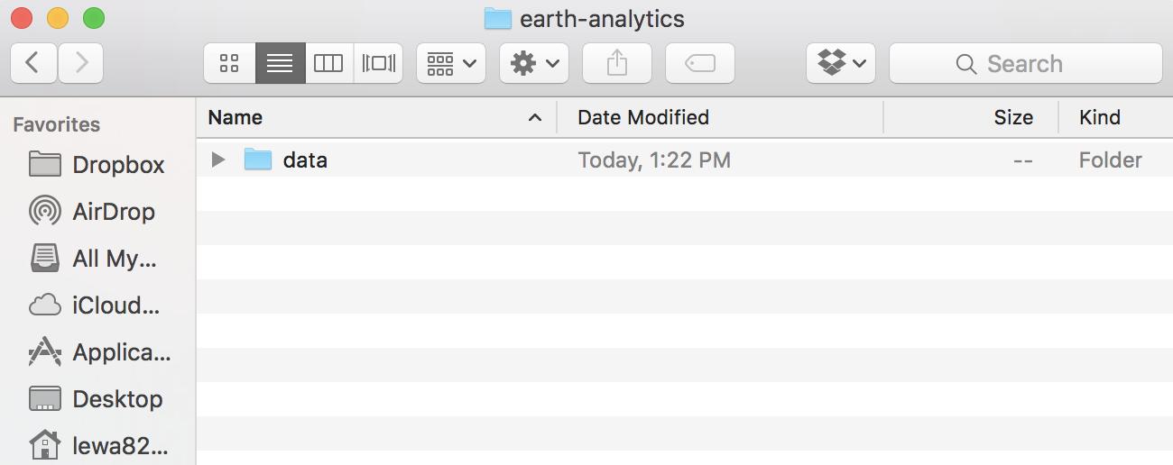 working directory screenshot