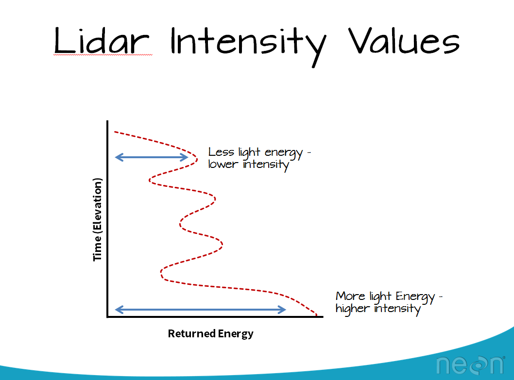 Lidar intensity values represent the amount of light energy that reflected off of an object and returned to the sensor.