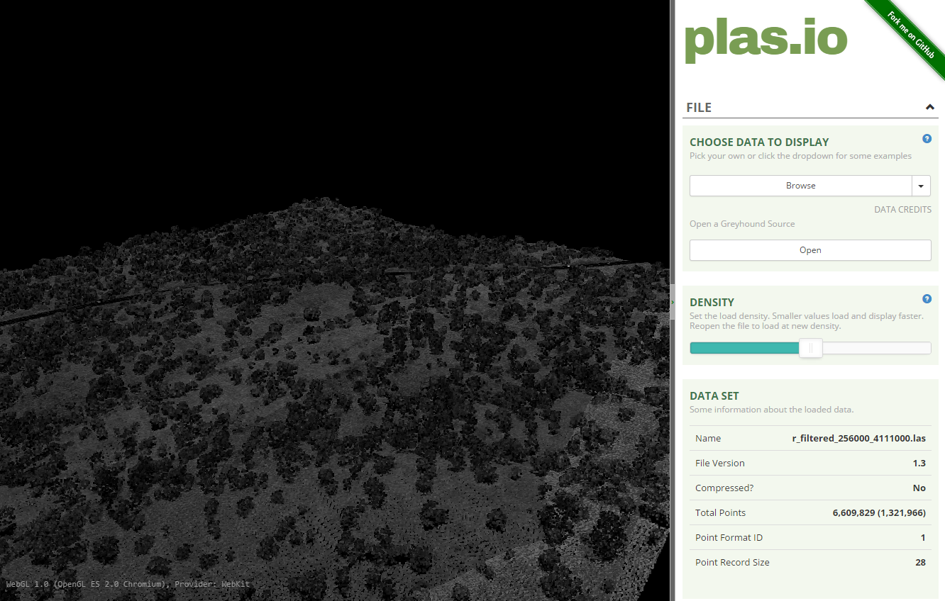 Lidar data in the plas.io online tool.
