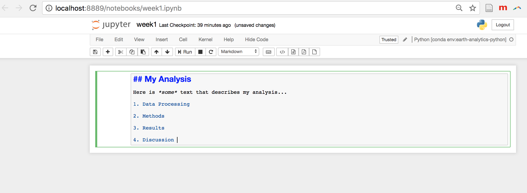 An example Markdown cell in Jupyter Notebook.
