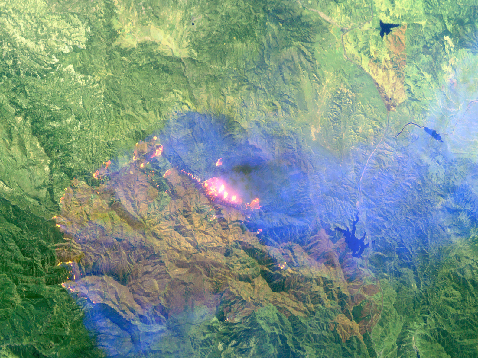 Remote sensing image of the Los Angeles Day Fire from NASA's MASTER sensor.