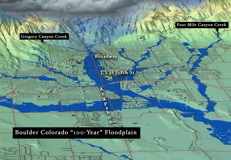 The 100-year floodplain in Boulder