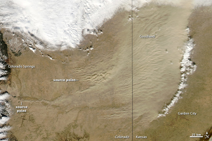 MODIS satellite image of a dust storm caused by drought in Colorado