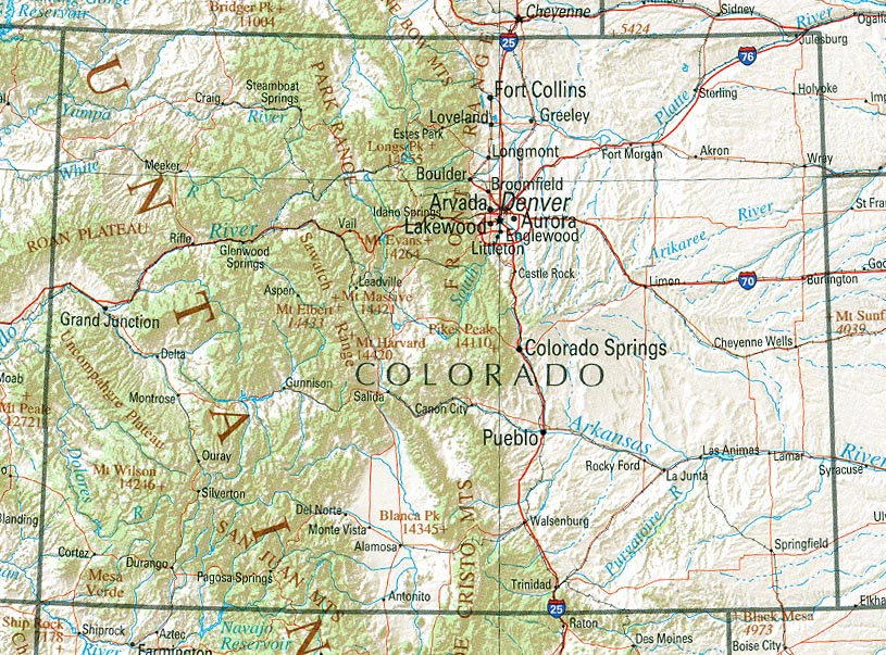 Map of Boulder, Colorado and the Front Range.