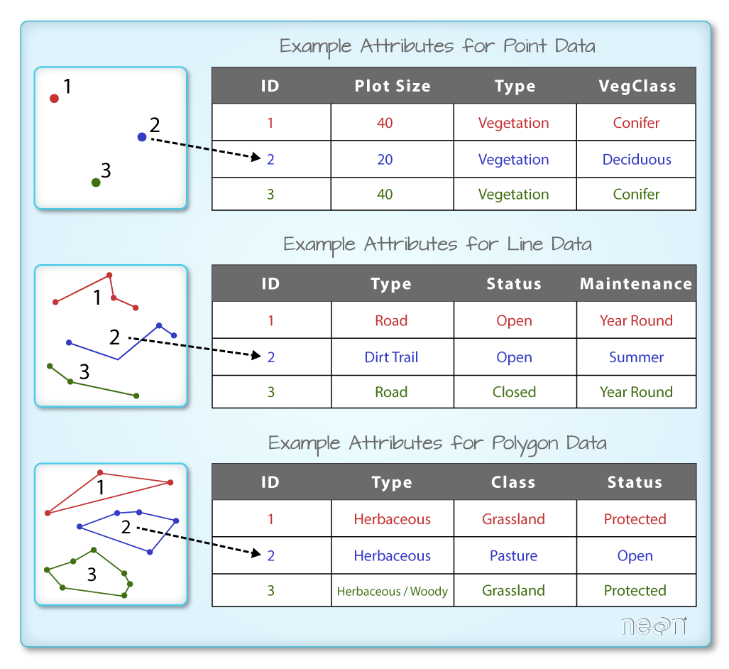 A shapefile has an associated attribute table. Each spatial feature in an R spatial object has the same set of associated attributes that describe or characterize the feature. Attribute data are stored in a separate *.dbf file.
