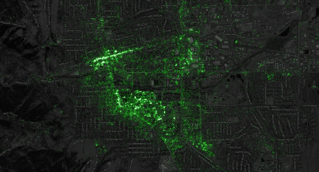 image showing tweet activity across boulder and denver.
