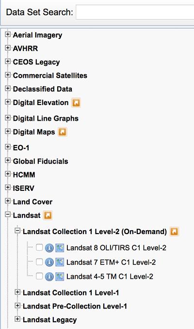 Earth explorer search criteria.