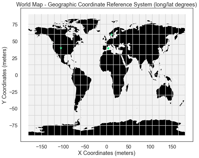Global map in geographic coordinate reference system with graticules.