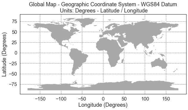 Global Map in Geographic Coordinate System WGS84 Datum