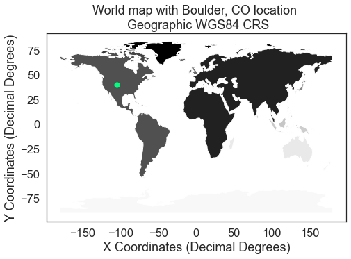 Map showing the location of Boulder, CO. All layers are in geographic WGS84 CRS.