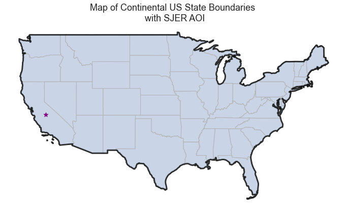 Plot showing the centroid of your AOI boundary overlayed on top of a map of the entire United States.
