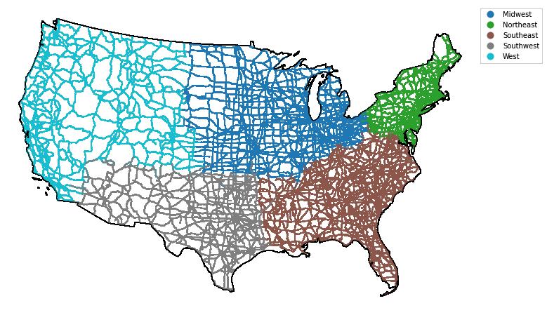Plot of roads colored by region with a standard geopandas legend.