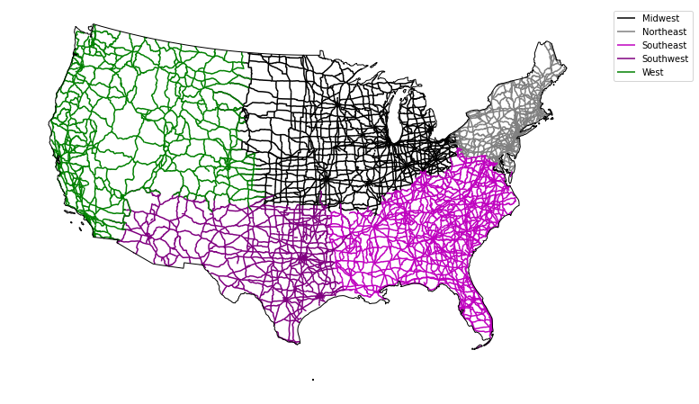 Plot of roads colored by region with a custom legend.
