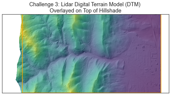 Plot of a Lidar Digital Terrain Model overlayed on top of a hillshade. In this plot the site boundary is also overlayed. Your challenge 3 plot should look something like this one.