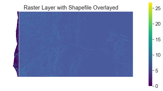 Canopy height model with the crop shapefile overlayed. Note this image is just an illustration of what the two layers look like together. Below you will learn how to import the data and mask it rather than using the .read() method.