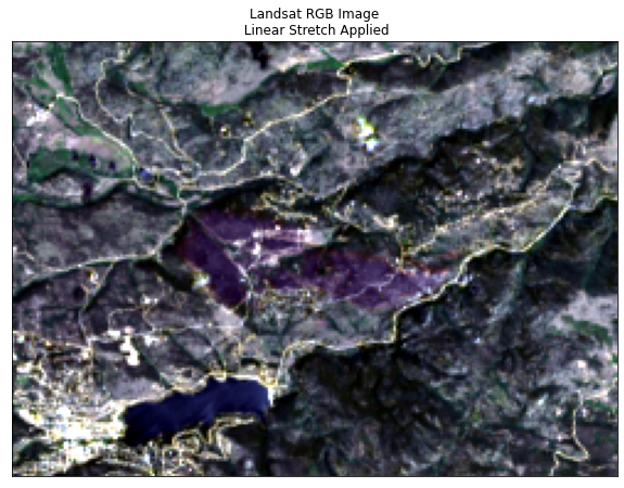 Landsat 3 band RGB color composite with stretch and more clip applied.