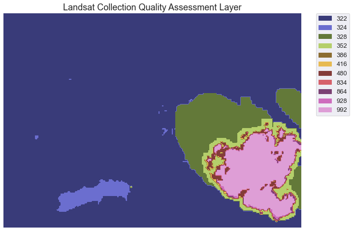 Landsat Collection Pixel QA layer for the Cold Springs fire area.