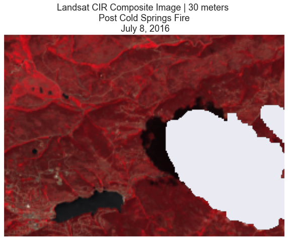 CIR Composite image with cloud mask applied, covering the post-Cold Springs fire area on July 8, 2016.