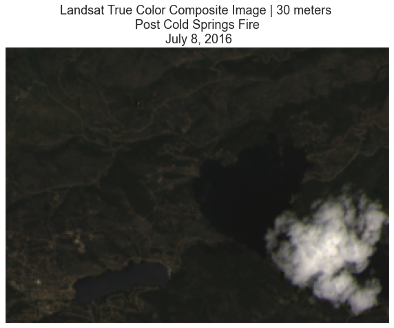 RGB Landsat image for the Cold Springs fire area with a cloud blocking part of the image.