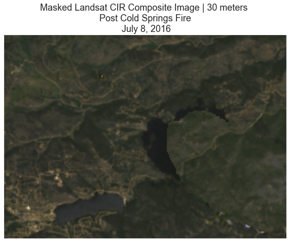 Landsat CIR Composite image after replacement of masked pixel values using a cloud-free image for the post-Cold Springs fire.