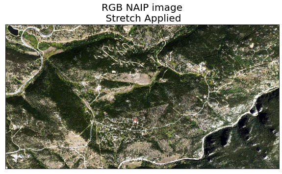 Plot showing RGB image of NAIP data with a stretch applied to increase contrast.