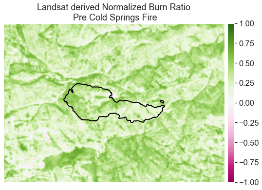Normalized burn ratio (NBR) calculated for the pre-Cold Springs fire image from Landsat.