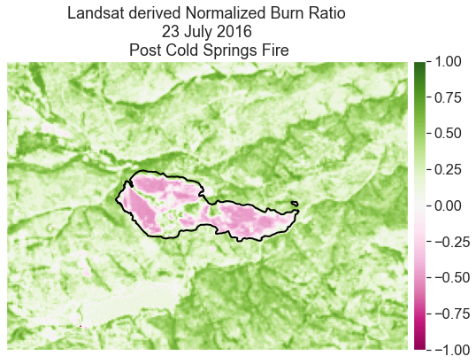 Normalized burn ratio (NBR) calculated for the post-Cold Springs fire image for July 23, 2016 from Landsat.