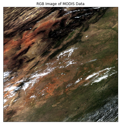RGB Image of the MODIS data made using 3 of the bands in the MODIS stack.
