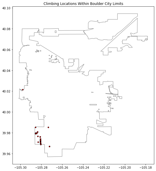 Plot of climbing formations in the Boulder, Colorado clipped to the Boulder city boundary.