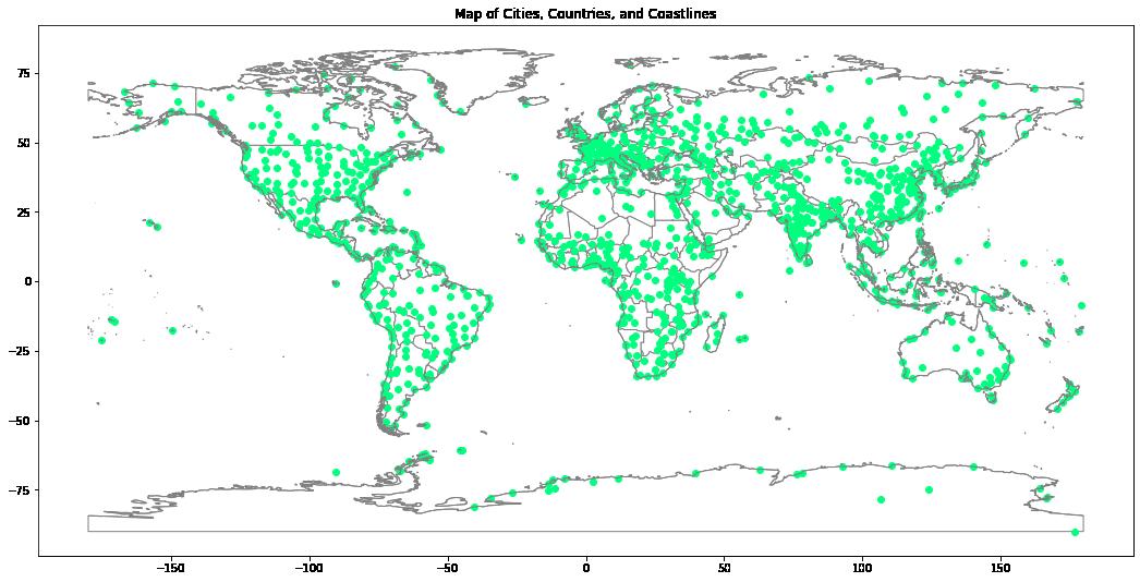 Global political boundaries with major cities.