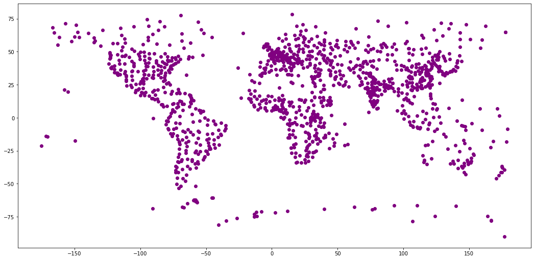 Global cities plotted without boundaries.