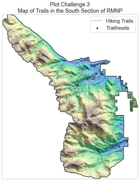 A map of the boundary of the South Zone of Rocky Mountain National Park, with hiking trails, trail heads, elevation data, and hillshade data mapped with it.