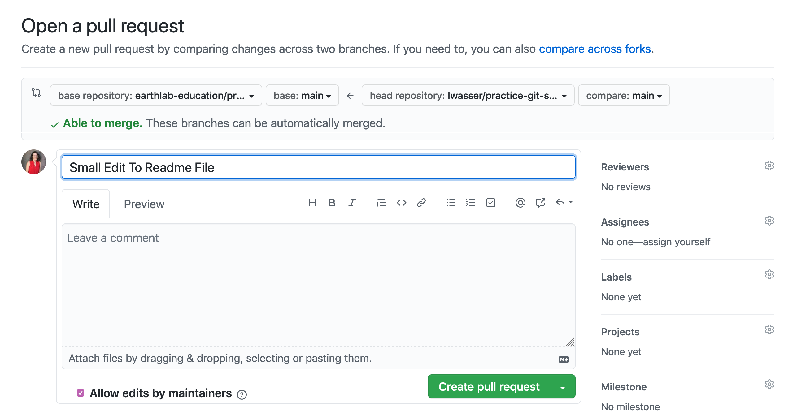 Pull request titles should be concise and descriptive of the content in the pull request. More detailed notes can be left in the comments box.