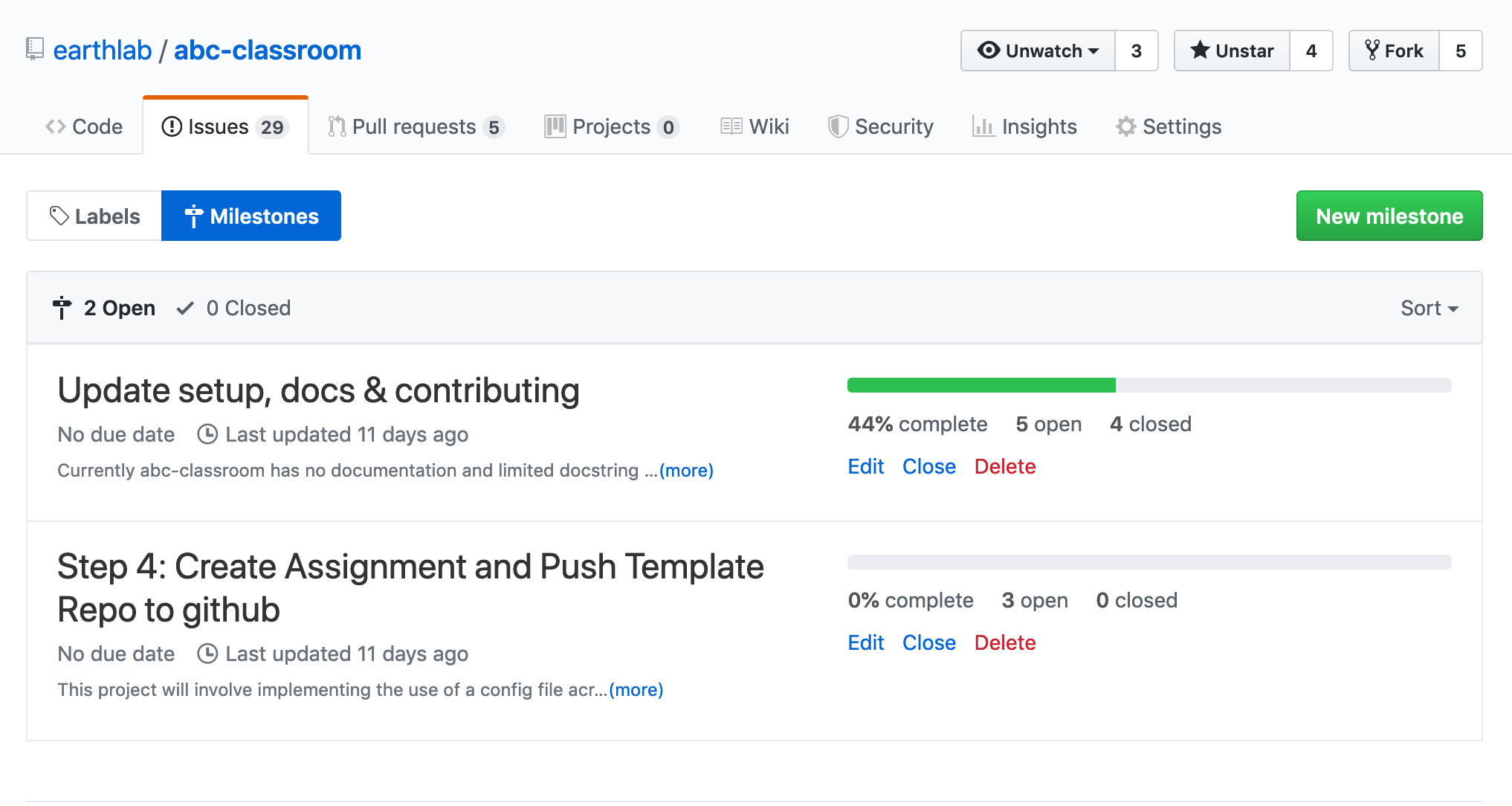 GitHub milestones allow you to track smaller sets of tasks within a larger GitHub project.