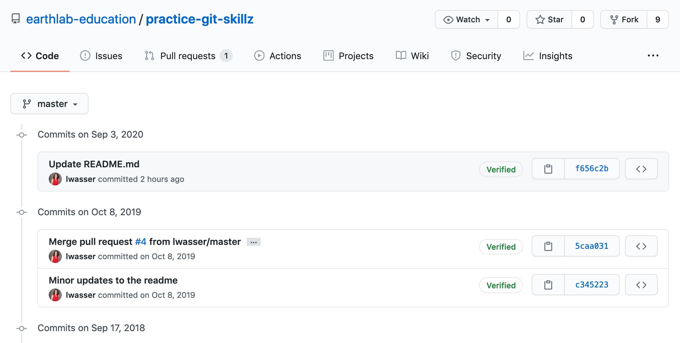 The full list of commits that have been pushed to a repository are available for you to see and review as needed on GitHub.com.