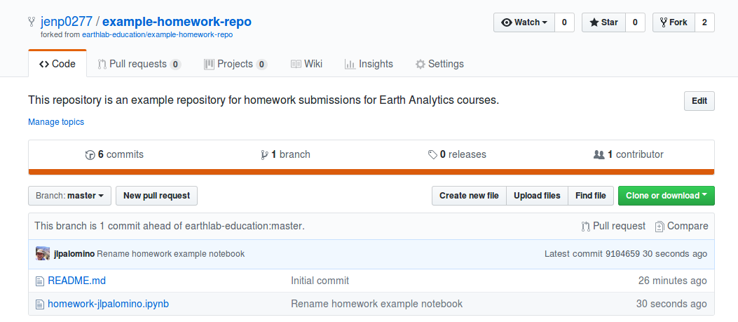 Location of the New pull request button on the main page of an example repository for jenp0277.